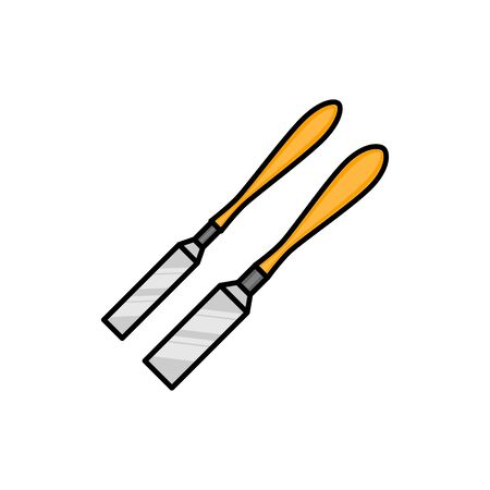 chisel flat illustration. Vector icon for design and web.