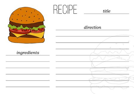 Simple recipe card template with fast food illustration in cartoon style. Çizim