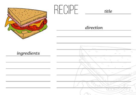 Simple recipe card template with fast food illustration in cartoon style. Vector Illustratie