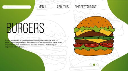 Fast food web site template. landing page design for website and mobile site.