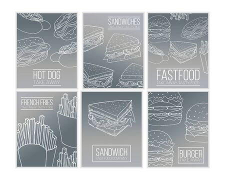 Set of vector fast food flyer templates. Street food cartoon illustrations for design and web