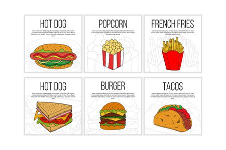 Set of fast food flyer templates. Street food cartoon illustrations for design and web