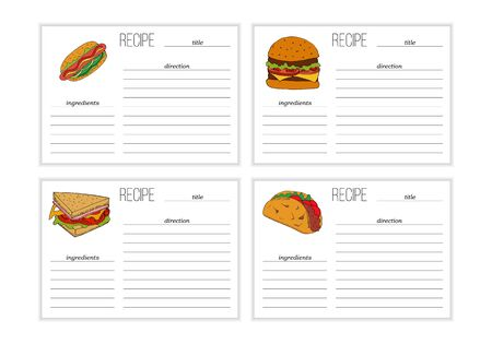 Set of simple recipe card templates with fast food illustration in cartoon style.