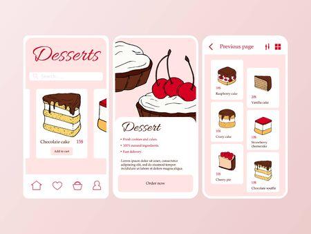 Dessert shop mobile application template. Modern illustration for design and web. Stok Fotoğraf - 137870922