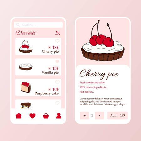 Dessert shop mobile application template. Modern illustration for design and web. Stok Fotoğraf - 137872275