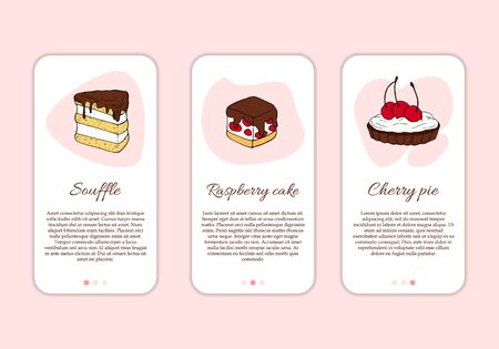 Dessert shop mobile application template. Modern illustration for design and web. Stok Fotoğraf - 137871410