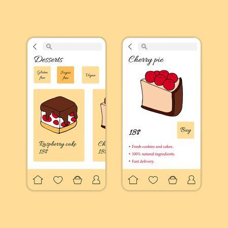 Dessert shop mobile application template. Modern illustration for design and web. Stok Fotoğraf - 137871634