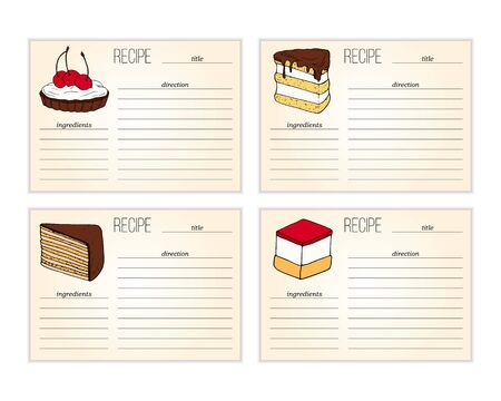 Set of simple recipe card templates with cakes illustration in cartoon style.