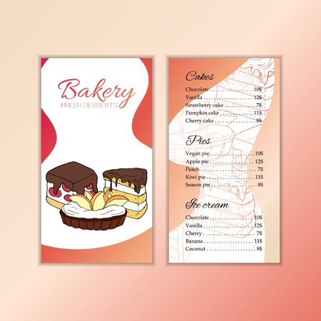 Bakery shop menu template. Cartoon illustration for design and web. Çizim