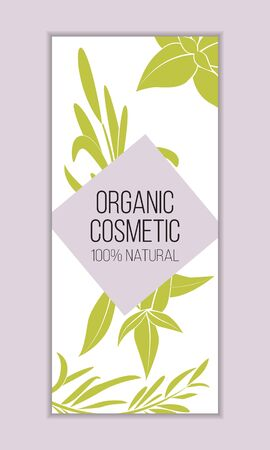 Herbal cosmetics card template. Modern illustration for design and web.