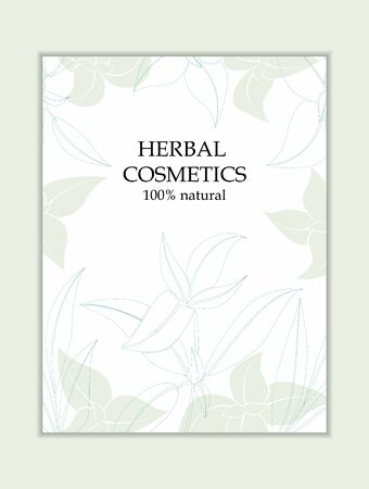Herbal cosmetics card template. Modern illustration for design and web. Stok Fotoğraf - 137872614
