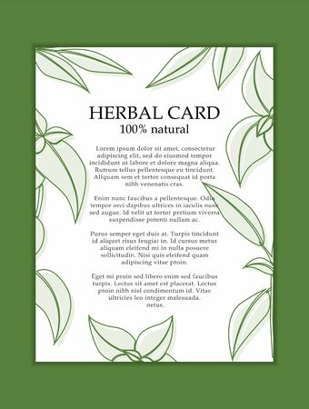 Herbal cosmetics card template. Modern illustration for design and web. Stok Fotoğraf - 137872528