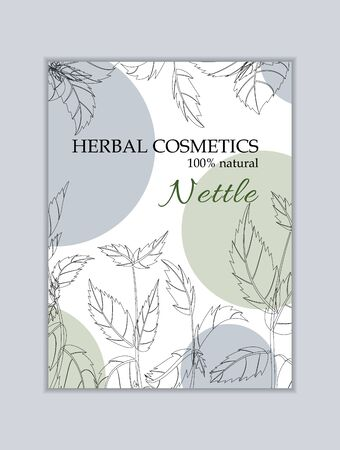Herbal cosmetics card template. Modern illustration for design and web. Stok Fotoğraf - 137872138