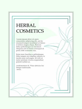 Herbal cosmetics card template. Modern illustration for design and web. Stok Fotoğraf - 137872623