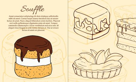 Vector dessert flyer template. Cakes card illustration for design and web