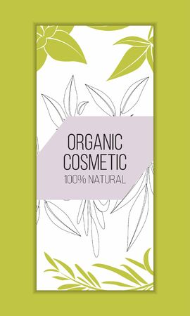 Herbal cosmetics card template. Modern illustration for design and web. Stok Fotoğraf - 137873002