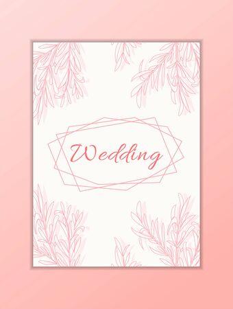 Wedding card template. Modern illustration for design and web.