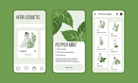 Vector herb cosmetic shop mobile application template. Modern illustration for design and web. Stok Fotoğraf - 137873592