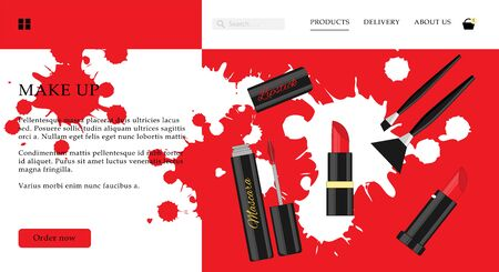 Cosmetic shop web site template. Modern illustration for design and web.
