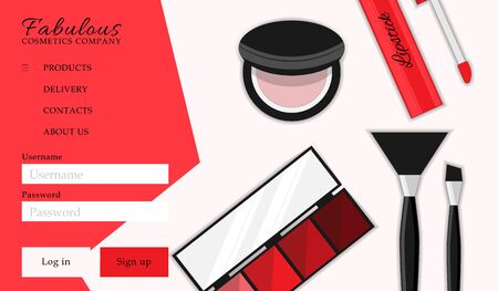 Cosmetic shop web site template. Modern illustration for design and web. Stok Fotoğraf - 137876528