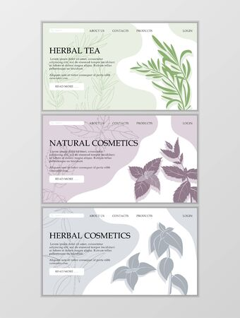 Herbal cosmetics shop web site template. Modern illustration for design and web. Stok Fotoğraf - 137877865