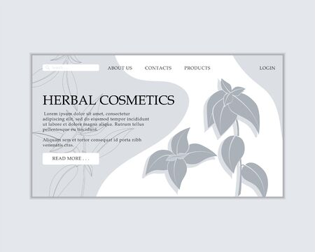 Herbal cosmetics shop web site template. Modern illustration for design and web. Çizim