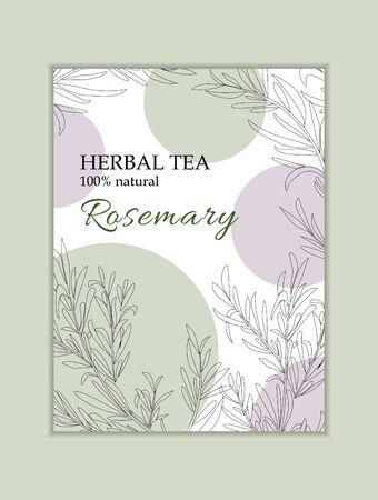 Herbal tea vactor card template. Modern illustration for design and web. Stok Fotoğraf - 137877253