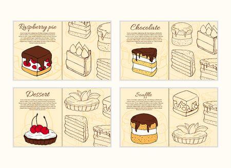 Set of vector desserts flyer templates. Cakes cartoon illustrations for design and web Stok Fotoğraf - 137876742
