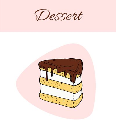 Vector dessert flyer template. Cakes card illustration for design and web Stok Fotoğraf - 137877217