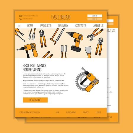 Repairing tools shop web site template. Modern illustration for design and web. Stok Fotoğraf - 138394809