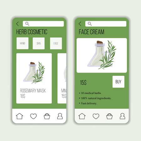 Vector herb cosmetic shop mobile application template. Modern illustration for design and web. Çizim