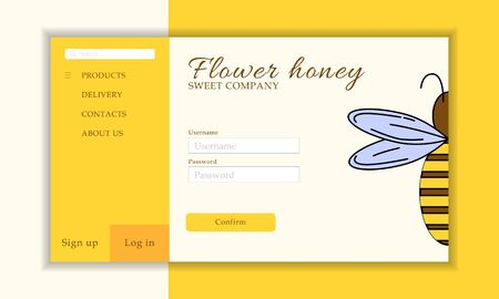 Vector honey shop web site template. Modern propolis illustration for design and web. Stok Fotoğraf - 137878490