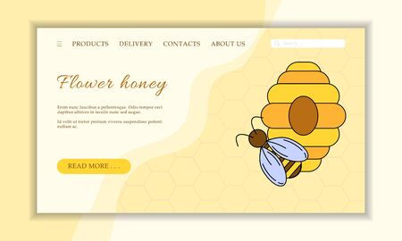 Vector honey shop web site template. Modern propolis illustration for design and web. Stok Fotoğraf - 137878901