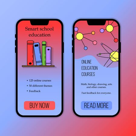 Vector education courses mobile application template. Modern illustration for design and web. Stok Fotoğraf - 137881474
