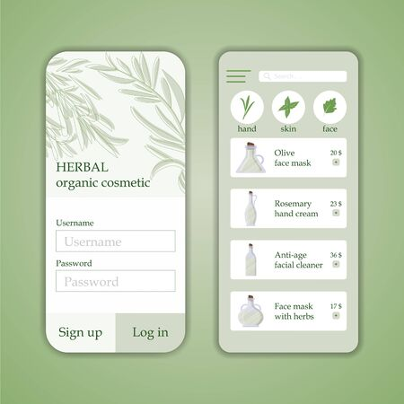 Vector herb cosmetic shop mobile application template. Modern illustration for design and web. Ilustrace