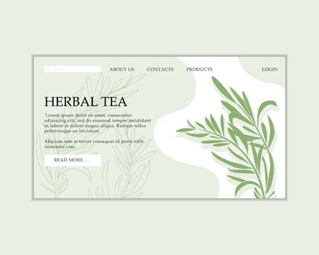 Vector herbal tea shop web site template. Modern illustration for design and web. Stok Fotoğraf - 137881406