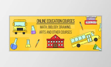 Vector education courses banner concept. Modern illustration for design and web. Stok Fotoğraf - 137884338