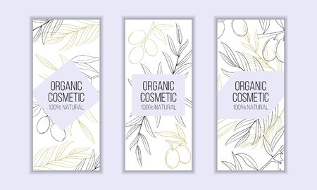 Herbal cosmetics vector card template. Modern illustration for design and web.