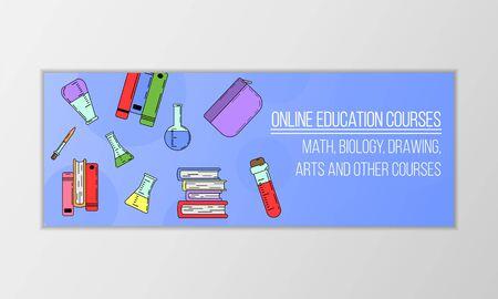 Vector education courses banner concept. Modern illustration for design and web. Çizim