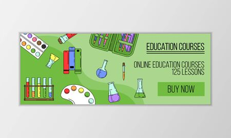 Vector education courses banner concept. Modern illustration for design and web. Ilustracja