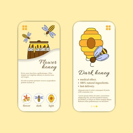 Vector honey shop mobile application template. Modern illustration for design and web. Stok Fotoğraf - 137884134