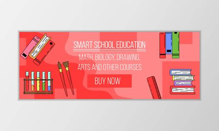 Vector education courses banner concept. Modern illustration for design and web. Stok Fotoğraf - 137884156