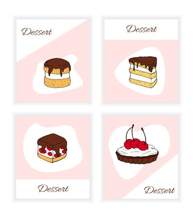 Set of vector desserts flyer templates. Cakes cartoon illustrations for design and web Stok Fotoğraf - 137886818