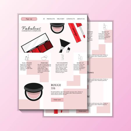 Vector cosmetic shop web site templates. Modern illustration for design and web.