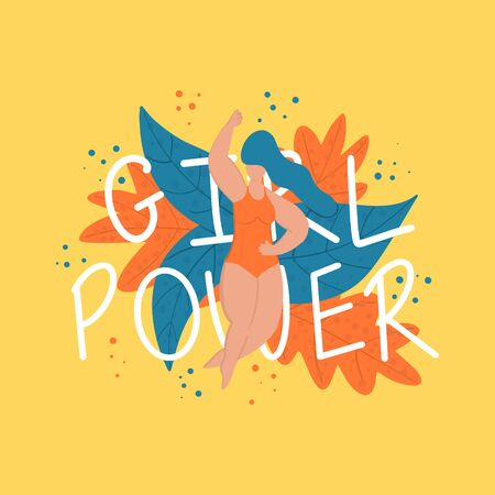 Girl power quote and young blue haired woman in swimsuit vector hand drawn illustration. Feminist slogan or phrase. Women rights, feminism, motivational slogan, social movement concept.