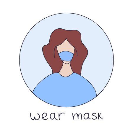 Covid-2019 protection tip. Coronavirus alert. Girl wearing medicine mask vector illustration in hand drawn style with lettering. Ilustração