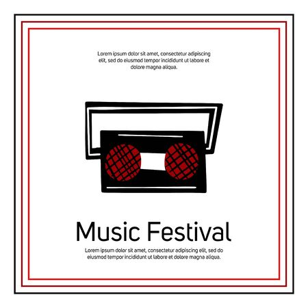 Music festival banner template with text space. Retro music player vector illustration in doodle style. Bright cartoon music concept, performance flyer template.