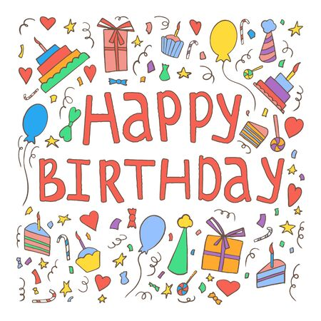 Happy birthday invitation card template. Hand drawn birthday elements, cakes, gift boxes, balloons, garlands, fireworks, candles and handwritten birthday phrase.