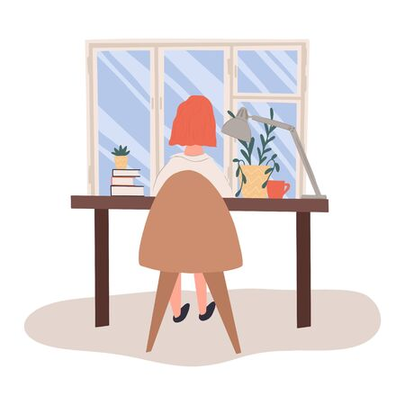 Young woman working at home vector flat illustration. Woman sitting in comfortable chair at desk and working on computer in quarantine. Freelance worker, self employed, coworking space concept.