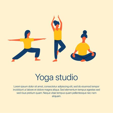 Girls stretching and doing yoga vector flat illustration with text space. Women in sport clothes. Yoga studio, active recreation, healthy lifestyle, pilates card design.